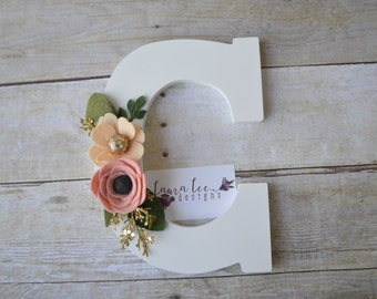 White Letter C with Blush Pink Peach and Gold Felt Flowers Wood Sign, Home Decor, Floral Wood Initial, Nursery Wall Decor, Baby Shower Gift