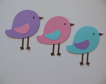 Bird Cutouts - Lavender, Pink and Aqua - Girl Birthday Party Decoration - Girl Baby Shower Decorations - Set of 3