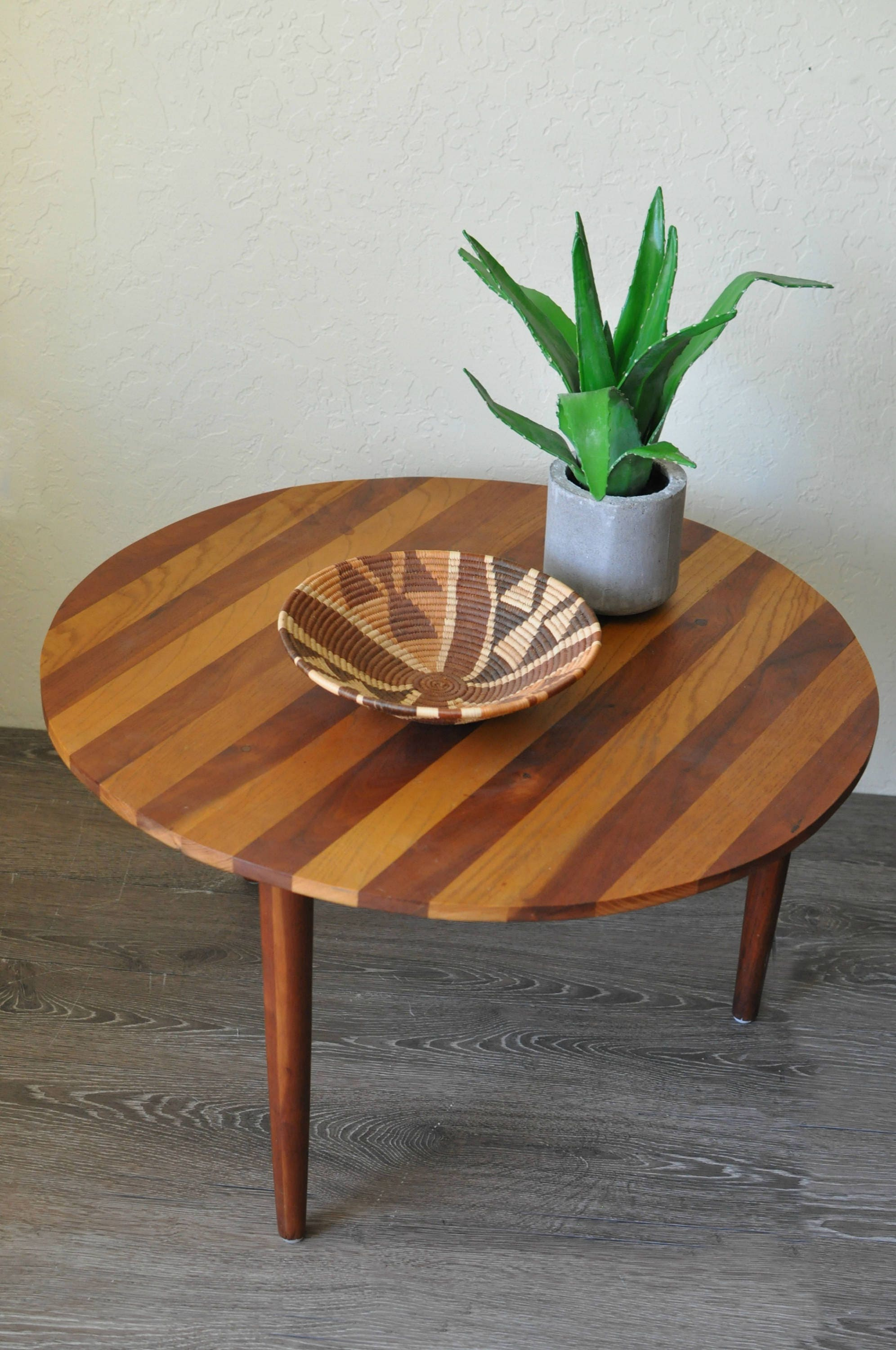 SOLD Mid Century Round Coffee Table Alternating Walnut and