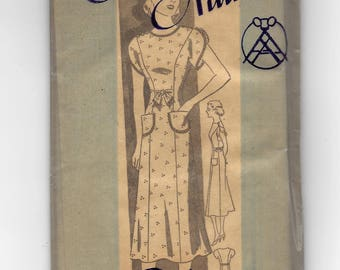 1940s Anne Adams 4707, Misses' Dress, Fitted Dress Short Sleeves, Belt Options, Unprinted Mail Order Pattern, Bust 32 Size 14