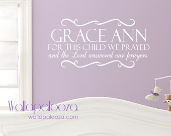 Children's Wall Decal - For this Child We Prayed Wall Decal - Nursery wall art - Custom name wall art - Nursery decor- kid's name wall art