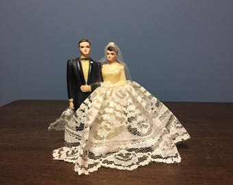 Vintage Plastic Wedding Cake Topper Bride and Groom with Fabric Dress and Veil (CT #6)