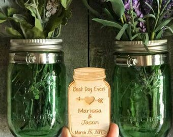 Wedding Favor, Mason Jar Wedding Favor Magnets, Mason Jar  Thank You Magnets, Bride, Groom, Gift