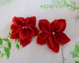Pretty red felt flower