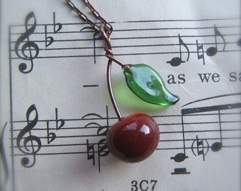 Glass Cherry Necklace with Leaf - by Bullseyebeads - Door County