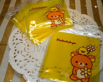 Kawaii Yellow Rilakkuma Bear 10 Adhesive Cello Bags for Gift, Party, Cookies, Candy, Snail Mail, Packing, Pastrys, Diy, Party, Scrapbooking.