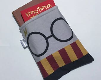 Harry Potter face book sleeve - Harry Potter book sleeve - sparkle book sleeve - Harry Potter gift - bookworm gift