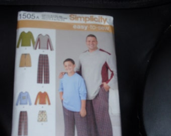 Simplicity 1505 Boy's S-L and Men's 1XL-5XL  Pants or Shorts, Knit Top  Uncut  New