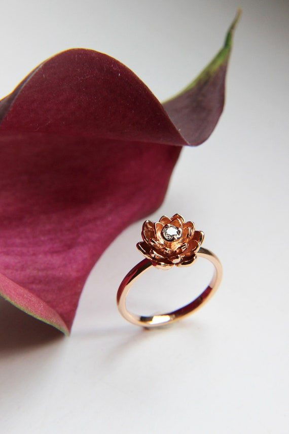 Gold flower ring for engagement, Diamond rose gold ring, Unique proposal ring, Lotus delicate ring, 14K gold ring, Floral golden jewelry