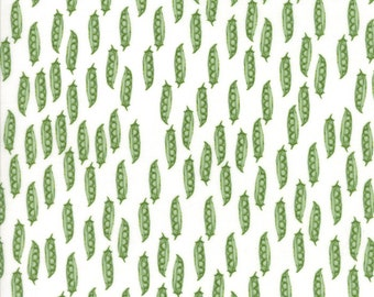 Children's Peas in a Pod Fabric in White - Darling Little Dickens by Lydia Nelson from Moda 1 Yard