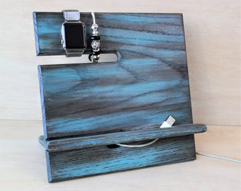 Caicos Turquoise & Brown Vivid Color Theme Universal Docking Station Phone/Tech/Accessory Organizer