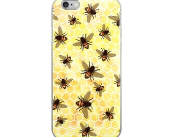 All-Over Bees on Yellow Honeycomb Cell Phone iPhone Case 6 Plus, 6/6s, 7 Plus, 8 Plus, X