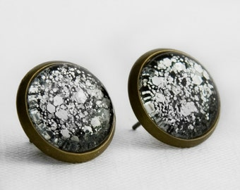 Chunky Silver Glitter Post Earrings in Antique Bronze - Black with Silver Small and Large Hexagonal Glitter Stud Earrings
