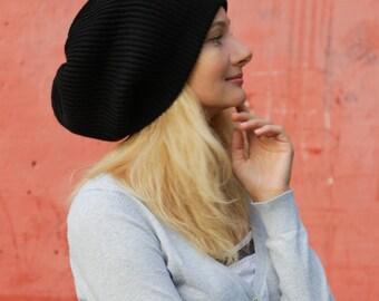 XXL size black hat black wool hat big head big hair tam hat dreadlock hat dreadlock tam dreadlock accessories rasta tam beret knit rasta hat