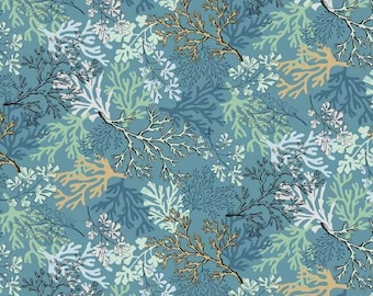 """Andover Fabrics """"Coral"""" Fabric By The Yard; Beach Comber by Makower UK; TP-1991-1"""