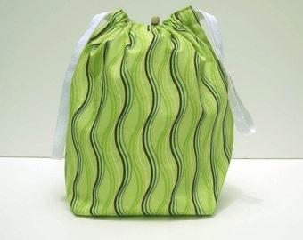 SALE - Green Wavy Stripes Drawstring Knitting Project Bag