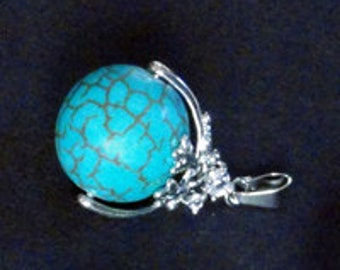 30mm Smooth Grade AAA Turquoise Blue Free-Spinning Ball Charm Drop Pendant With Rhinestone and Bail