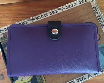 Leather Device Case/phone wallet purple