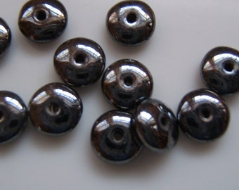 25 - Gunmetal Grey Smooth Shiny Czech Glass Rondelles
