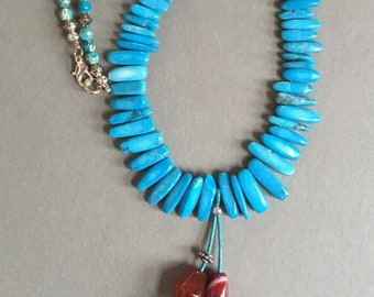 Turquoise and Dragon Veins Agate Necklace