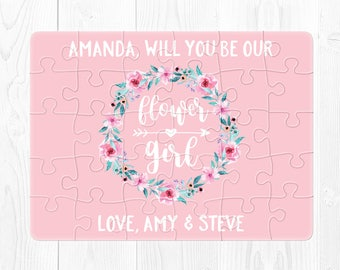 Flower Girl Puzzle Proposal Flower Girl Proposal Gift Pink Will You Be My Flower Girl Puzzle Flower Girl Proposal Card Personalized Cute