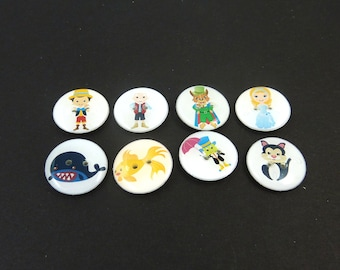 "8 Pinocchio Buttons.  Handmade Decorative Novelty Buttons for Knitting, Sewing, Crafting.  3/4"" or 20 mm."