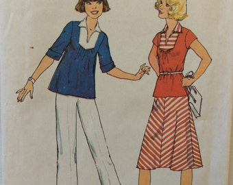 CLEARANCE!!  Simplicity 7860 woman's top, pants and skirt size 12 bust 34 waist 26.5 vintage 1970's sewing pattern