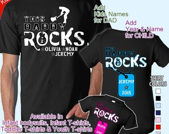 Dad & Child matching set: This Daddy Rocks and My Daddy Rocks - Personalized w/ Kids Names for Dad / Name and Year for child. 8 Colors!