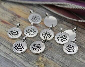 LOTUS Charms, Antique Silver, TierraCast, Tiny Lotus Charms, Drops, Qty 4 to 20 Yoga Meditaton Wrap Bracelet Charms