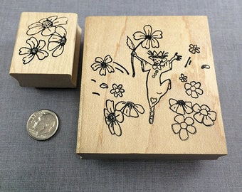 Little Ladies Jumping in the Flowers Rubber Stamp Set