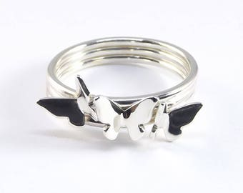 Sterling Silver Butterfly Ring, Tiny Butterfly Ring, Handmade Ring, Stackable Ring, Nature Inspired