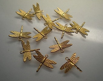 12 small brass dragonfly charms