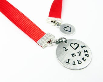 Library Bookmark - I Heart My Library Book Mark Gift - Red Ribbon Page Holder