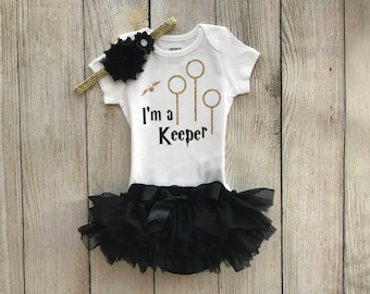 Harry Potter Baby Girl Outfit - I'm a Keeper Harry Potter - Coming Home Outfit m - Baby Girl Harry Potter Outfit - Harry Potter Muggle