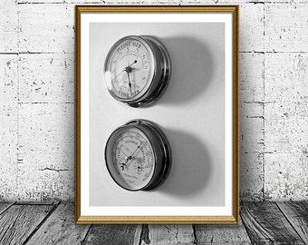 Barometer Print, Measuring Instruments Photo, Boat Navigation Poster, Wall Art, Modern Print, Black and White Home Interior Decor