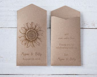 Sunflower Seed Packets | Woodsy Wedding Favor | Personalized Seed Packets | Sunflower Wedding Favor | Rustic Sunflower Seed Envelopes