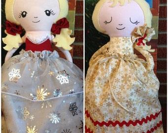 Topsy Turvy Doll - Christmas Doll - Holiday Doll - Winter Doll - Cloth Doll