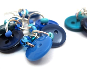 Button Dangle Earrings - Blue by randomcreative on Etsy