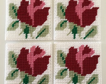 Coaster sets, coasters, table decor, drinkware, home decor, plastic canvas, needlepoint, roses, barware, kitchen decor, plastic canvas items