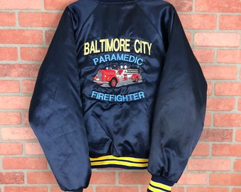 Vintage Baltimore City Fire Paramedic Fire Fighter Local 734 Insulated Jacket
