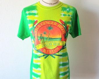 Vintage 90s Tie-Dye Shirt Green Yellow Tie Dye Neon Fluorescent Ginger Beer Jamaican Style Hippie Tee Tropical Acid Tee Womens Sz XS to S