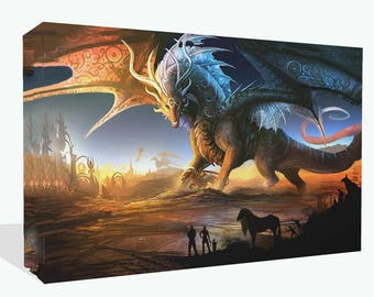 Fantasy Large Colourful Dragon  Print Wall Art Ready To Hang Or Poster Print