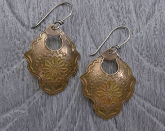 Etched Bronze Dangle Earrings