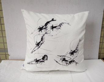 Prawn Pillow Cushion Cover Decorative Velvet Black And White Pillowcase