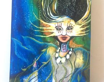 Queen of Deep Waters, print on wood