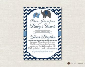 Baby Shower Invitation, Elephant Baby Shower Invitation, Baby Blue Elephant Baby Shower Invitation, DIY, Boy, Instant Download, Editable