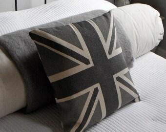 Helkat classic greys reversible union jack cushion cover