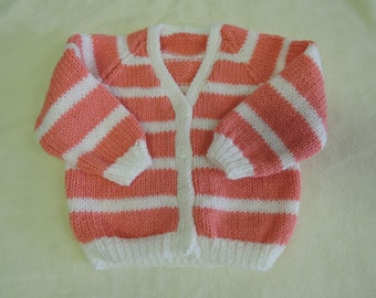 Baby Cardigan Jacket Unique Hand Knitted 18-19 Inch 6-9 Months