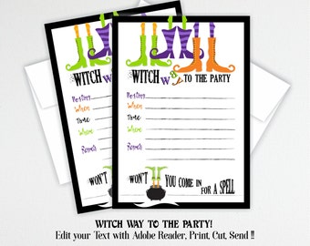 Halloween DIY Party Invitations, Printable Halloween Invites, Witch Party Invitations, Halloween Party Editable Printable Invite