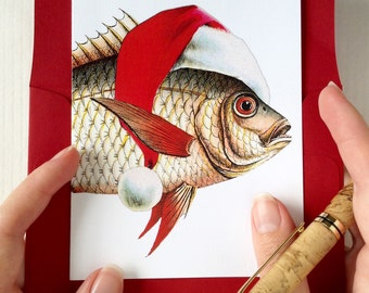 Funny Christmas Card Set, Beach Christmas Cards, Fish Christmas Card